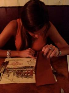 Reading about the restaurant