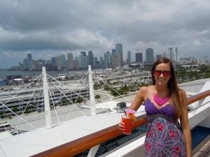 On the deck of the Carnival Liberty, Miami in the background