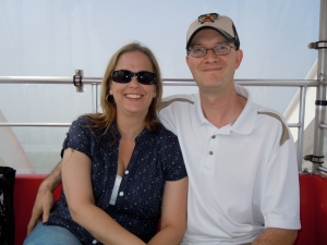 My cousin and her husband on the Ferris Wheel