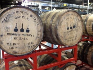 Whiskey barrels from Woodford Reserve used in brewing the beer