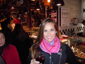 Drinking wine at Mercado San Miguel