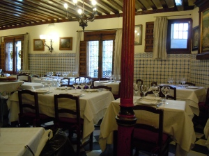 The upstairs dining room at Botin
