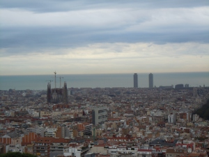 View of Sagrada Familia and the Olympic village