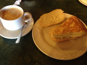 My favorite breakfast: Tortilla espanola and Spanish coffee