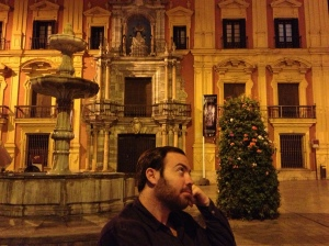 Alex at dinner in the Plaza del Obispo