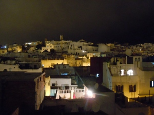 View from our rooftop at night