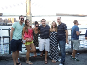 The gang at South Street Seaport: law school friends Harris and his girlfriend Tracey, and Meryl and her fiance Chris