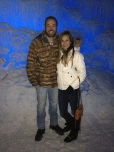 Alex and I exploring the Ice Castle