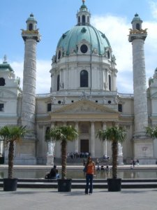 Me in front of Karlskirche (St. Charles's Church) in Vienna 6 years ago