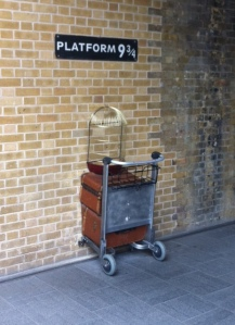 Platform 9 3/4 at King's Cross Station via thebooktrail.wordpress.com
