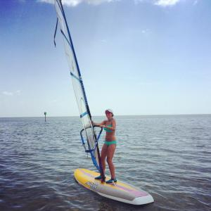 Me windsurfing in Florida. I'll have to try it in Aruba when we return!