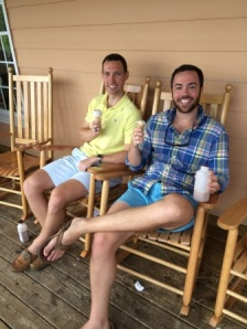Alex and Max enjoying some ice cream on the front porch of Maple View Farm Country Store