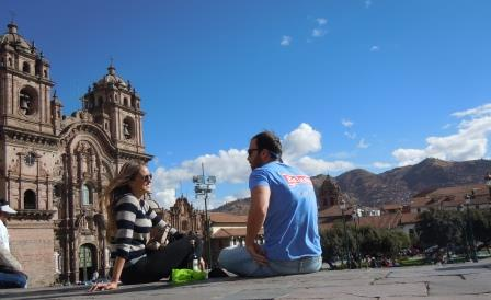 Alex and I having a picnic in the Plaza de Armas