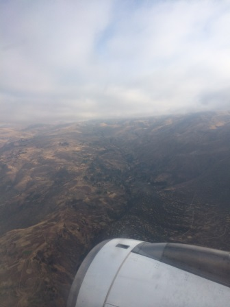 Flying over the Andes into Cusco