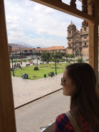 Looking out onto Plaza de Armas