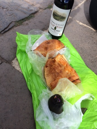 Empanadas, coca wine, and pastries from a local bakery