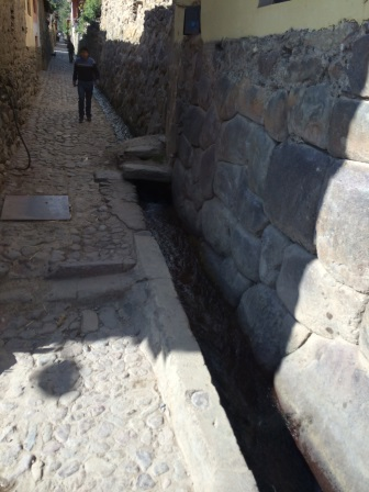 An old drain from Incan times in the city of Ollantaytambo