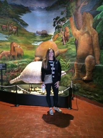 At the Museo Historico Regional. This giant armadillo behind me is one of my nightmares!