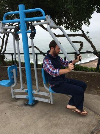 Workout equipment in Parque Maria Reiche