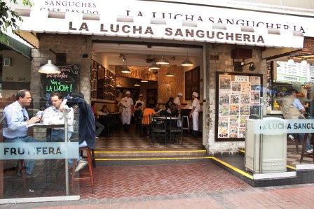La Lucha Sangucheria. We sat right at the table shown in the left hand corner of this picture! Photo via http://mirafloresparatodos.wordpress.com/
