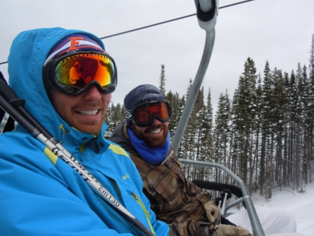 Alex and his brother Max on the ski lift