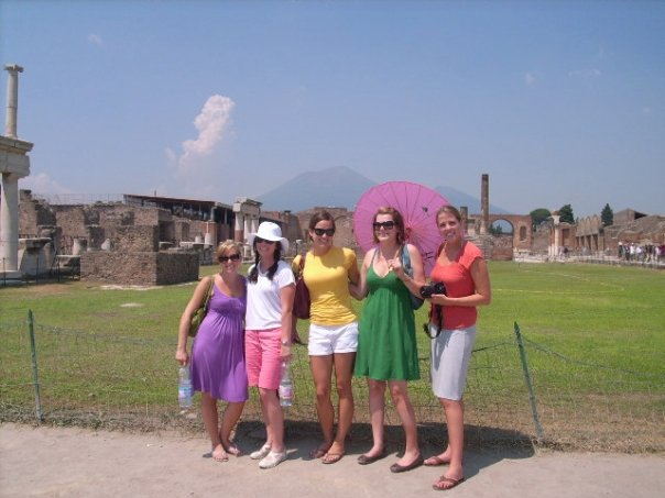 In Pompeii in 2008 with my college roommates during our unforgettable vacation to Italy for Ashley's wedding