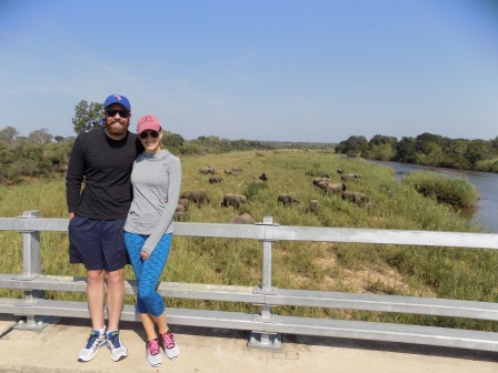 Us with a herd of elephants behind us. I could have watched them play for hours!