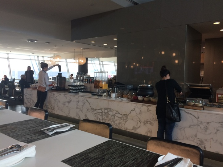 Qantas business lounge breakfast