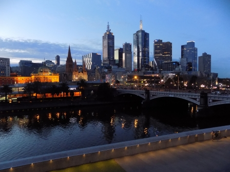 Yarra River and Melbourne skyline by night