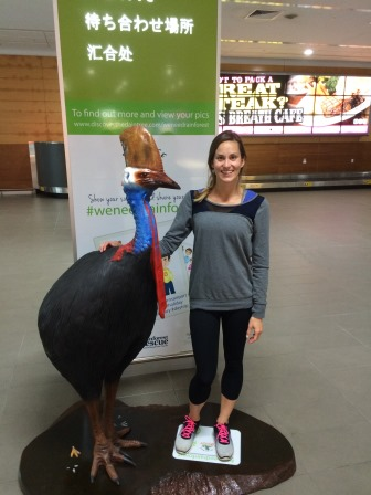 Arriving at the Cairns airport to be greeted by a cassowary!