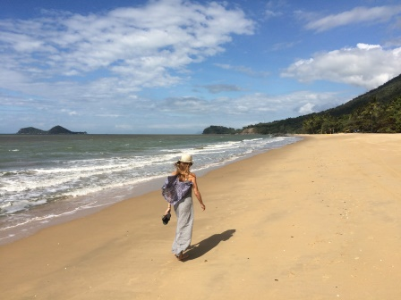 Walking down Ellis Beach (before our encounter with the Cairns Sun Boys)