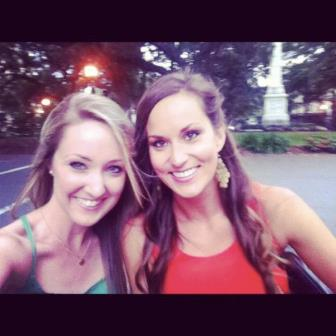 Jess and I taking a rickshaw on the way to a fun night out in Savannah
