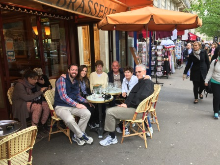 Having drinks with my aunt and uncle and their friends in Paris