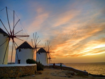 Sunset at the windmills