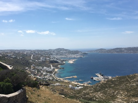 View back to Mykonos town from the lighthouse