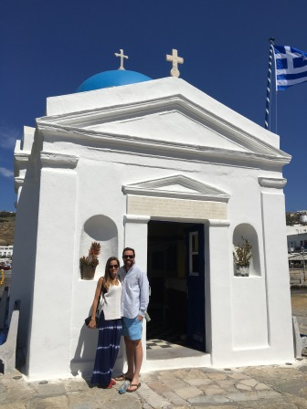 Alex and I in front of a cute church in the Old Port of Mykonos