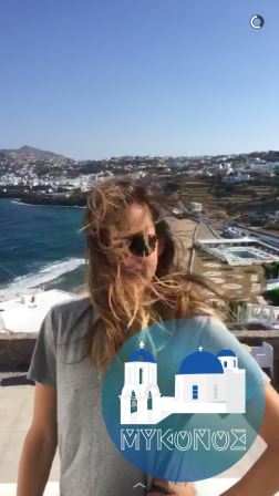 The windiness of our second day in Mykonos (screengrab from Snapchat)