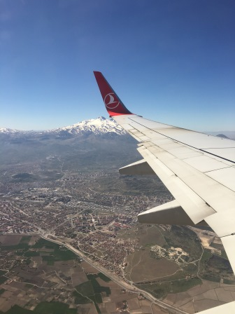 Flying into Kayseri Airport on Turkish Airways