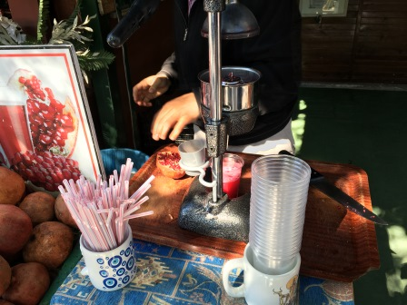 Fresh pomegranate juice was a necessity on a hot and dusty day!