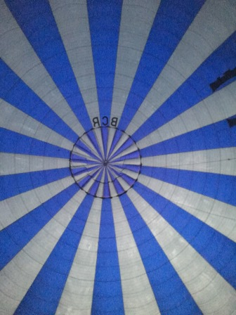 Looking up into our balloon