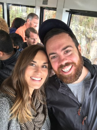 Hi from Bogota! We are on the cable car returning from Montserrat in this photo