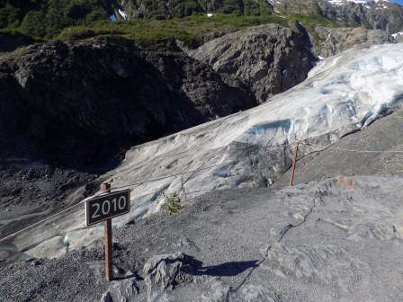 You can see how much the glacier has retreated even since 2010!