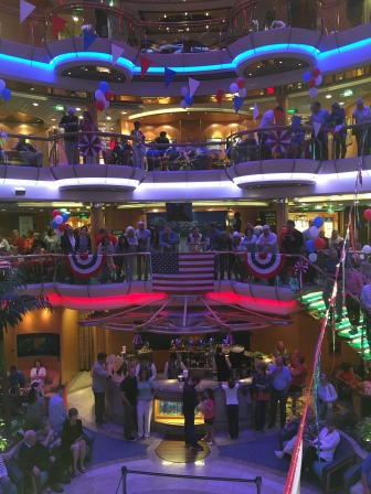 The atrium decked out for the 4th of July
